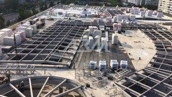 Монтаж крыши ТРЦ из металлоконструкций